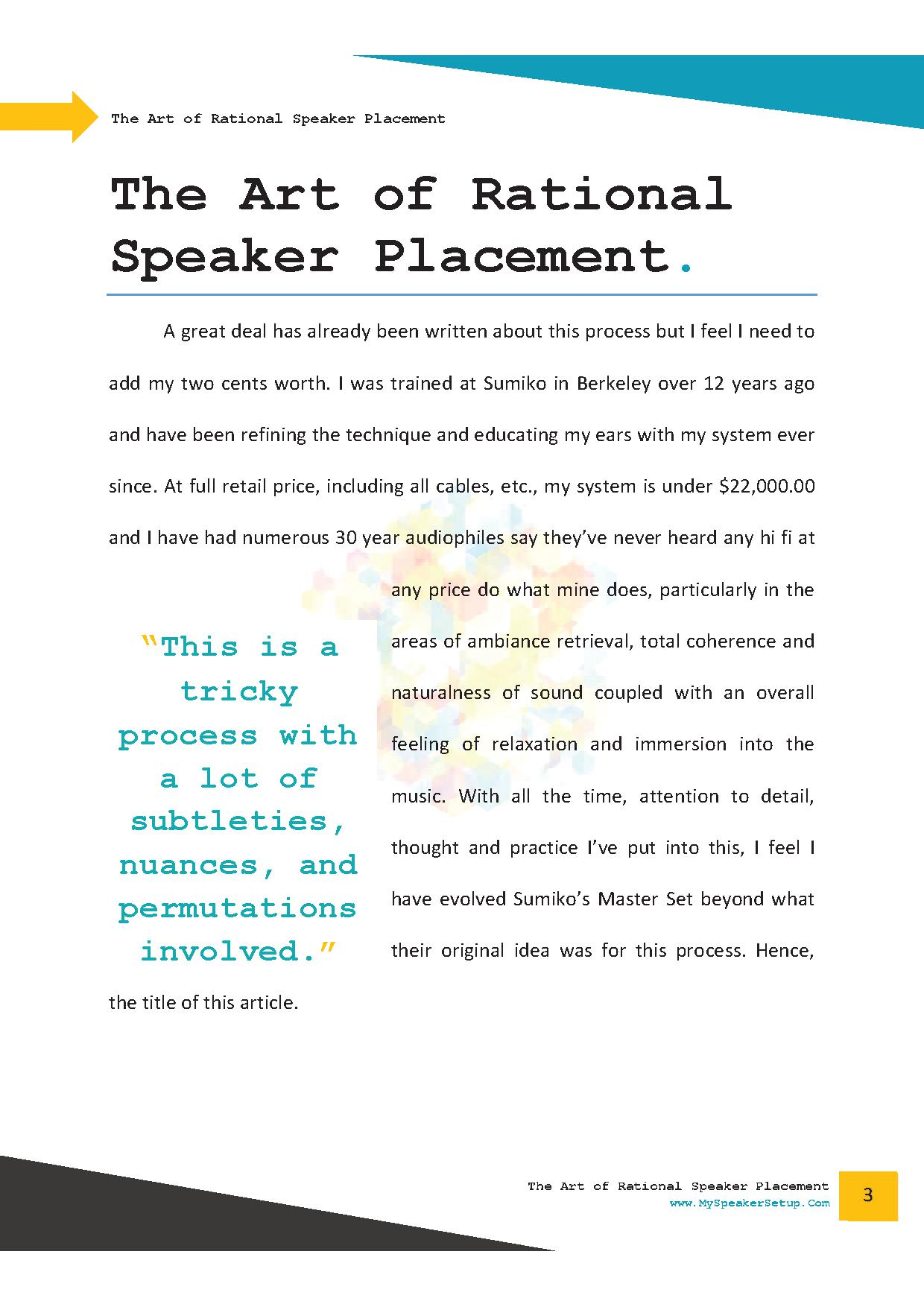 The Art of Rational Speaker Placement Setup Guide Page 2